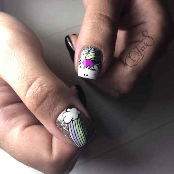 Bright nail art with a unicorn: stylish ideas for manicure in the photo and how to do it 56