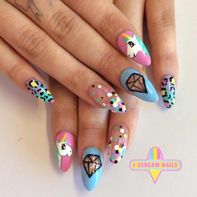 Bright nail art with a unicorn: stylish ideas for manicure in the photo and how to do it 67