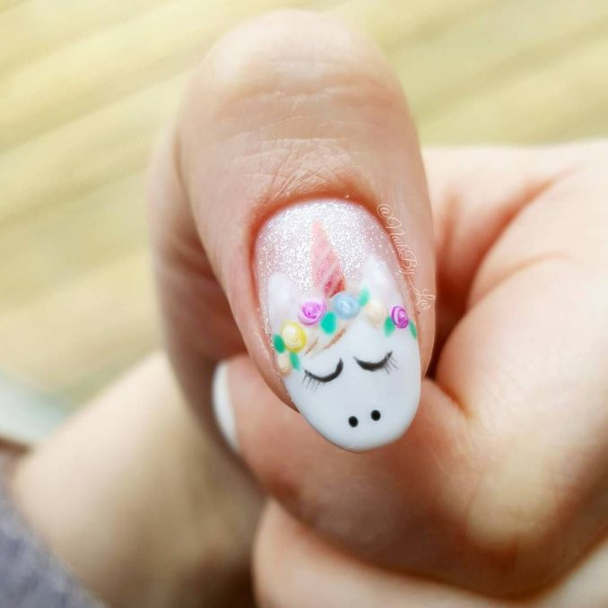 Bright nail art with a unicorn: stylish ideas for manicure in the photo and how to do it 25