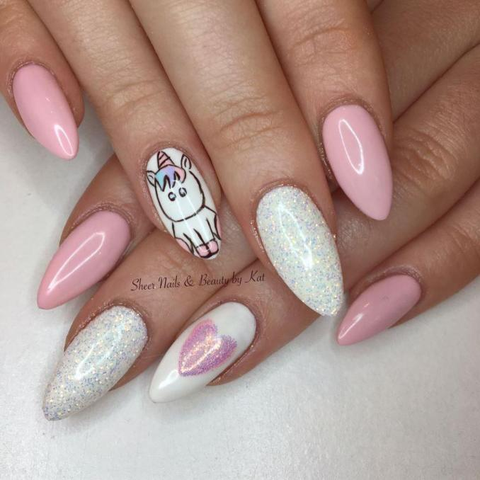 Bright nail art with a unicorn: stylish ideas for manicure in the photo and how to do it 98