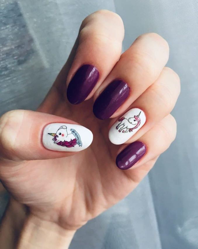 Bright nail art with a unicorn: stylish ideas for manicure in the photo and how to do it 92