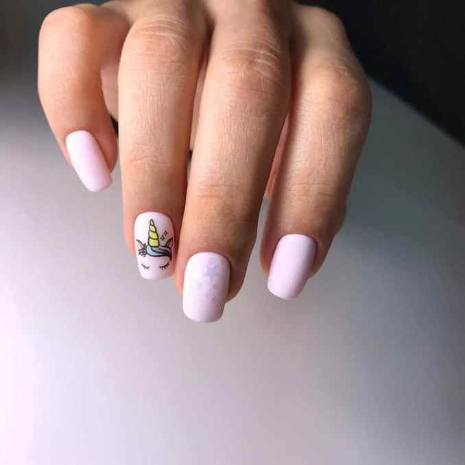 Bright nail art with a unicorn: stylish ideas for manicure in the photo and how to do it 93