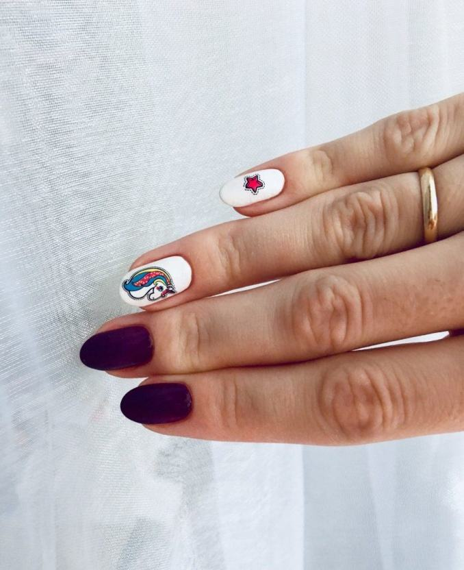 Bright nail art with a unicorn: stylish ideas for manicure in the photo and how to do it 94
