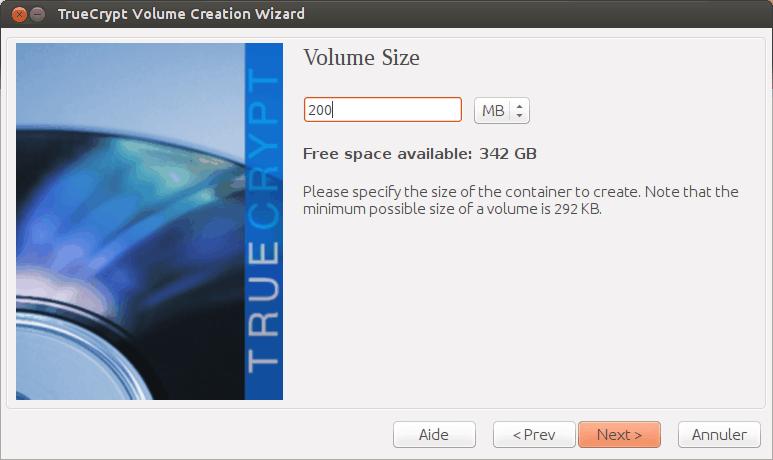 L'assistant de création d'un volume TrueCrypt, étape 5