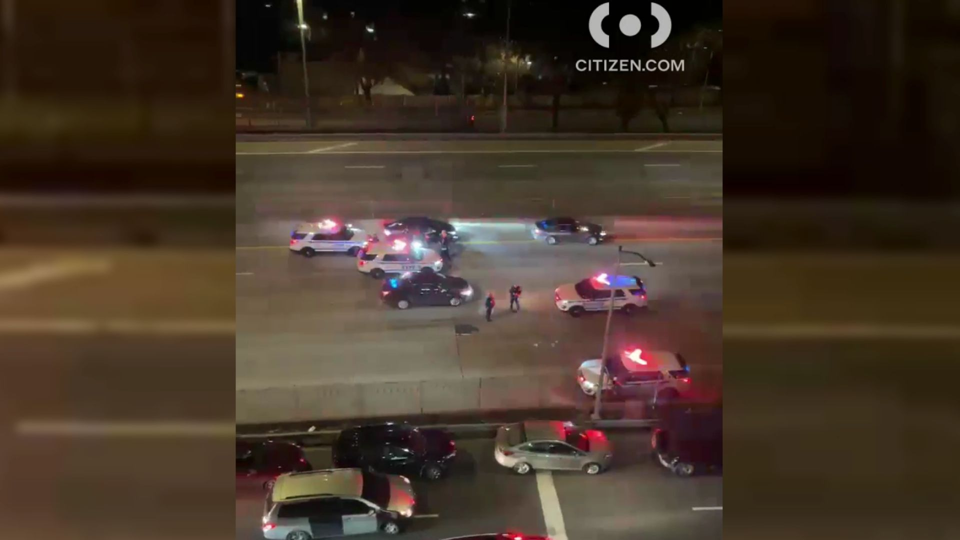 Police on the scene after a man, 24, was fatally shot in his car by another driver on the Bruckner Expressway in the Bronx late Tuesday night, March 30, 2021, according to the NYPD. (Citizen App)