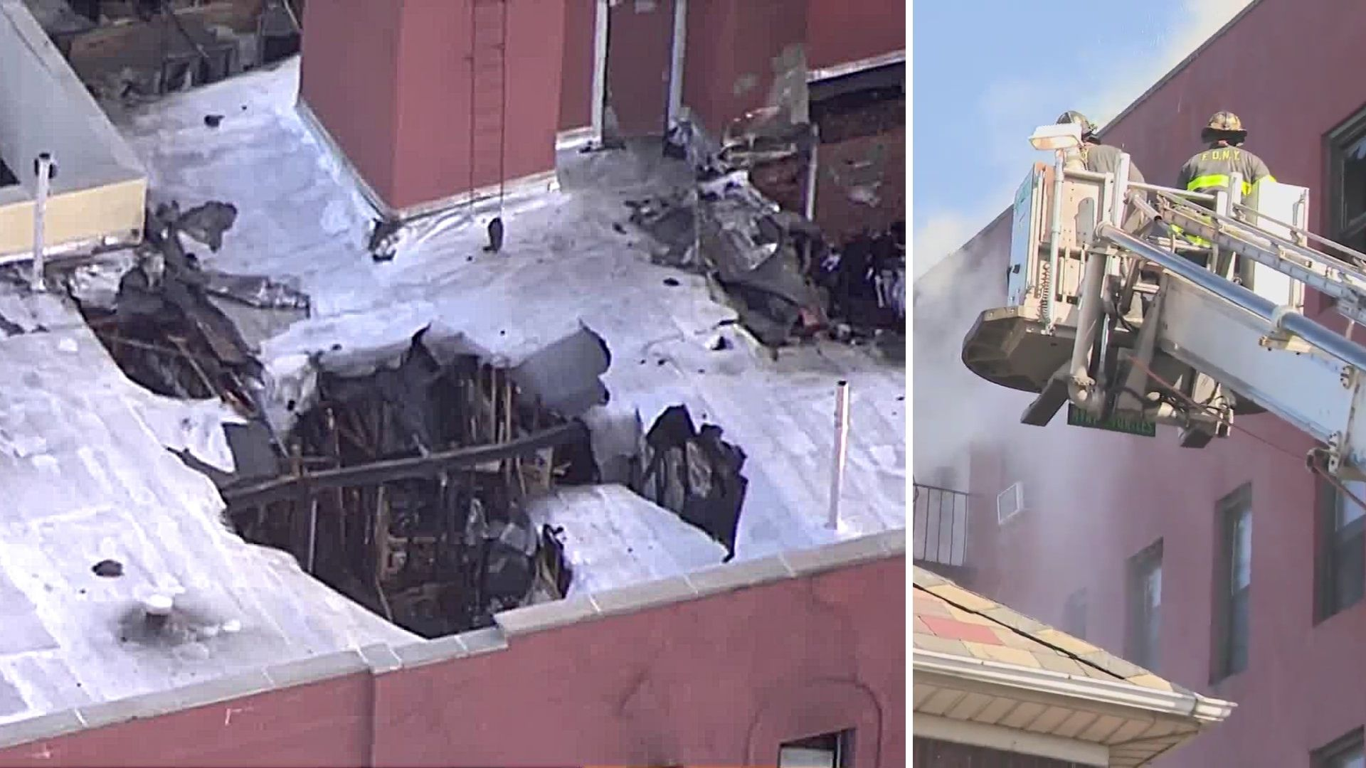 Scenes after a massive fire broke out in an apartment building in Jackson Heights, Queens on April 6, 2021. (AIR11 / PIX11 News)