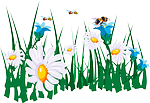 flowers, cartoon, grass, insects, bees