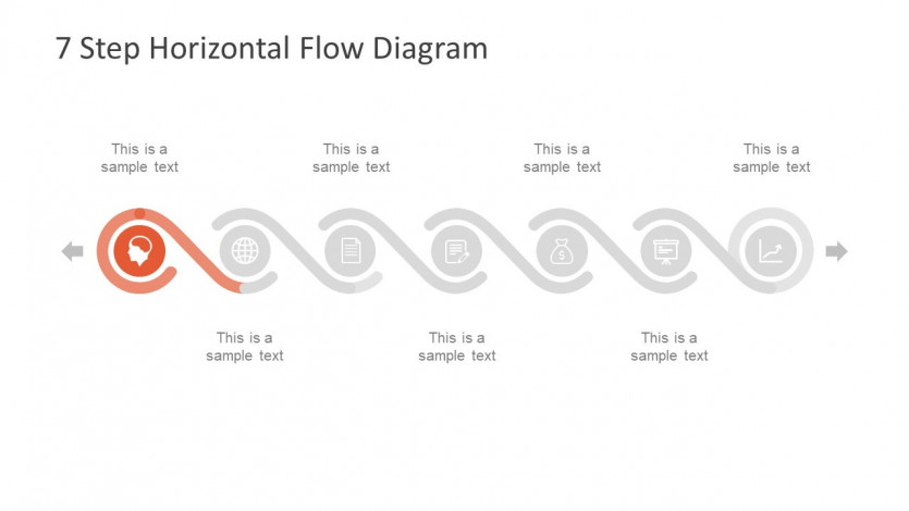 7 Step Horizontal Flow diagram다이어그램 for 무료ppt템플릿