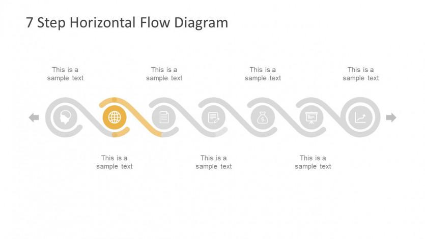 7 Step Horizontal Flow diagram다이어그램 for 무료ppt템플릿