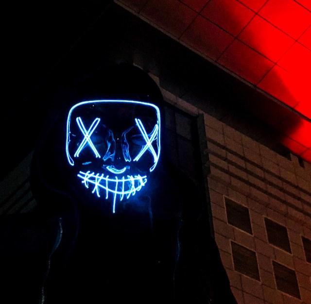 Creepy mask glowing in the dark