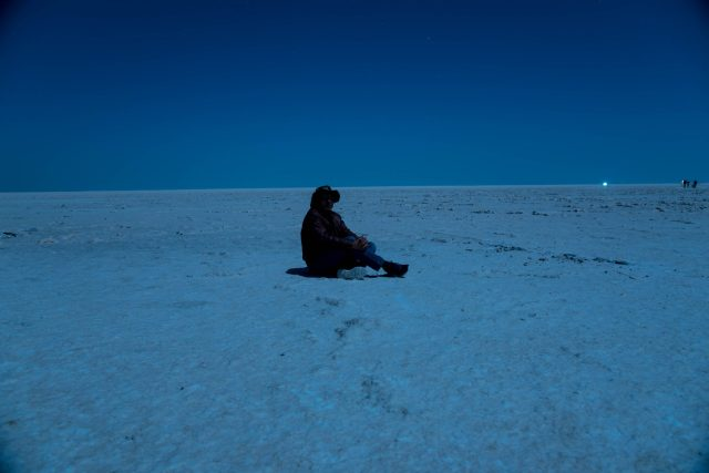 A person sit at Rann of Kutch