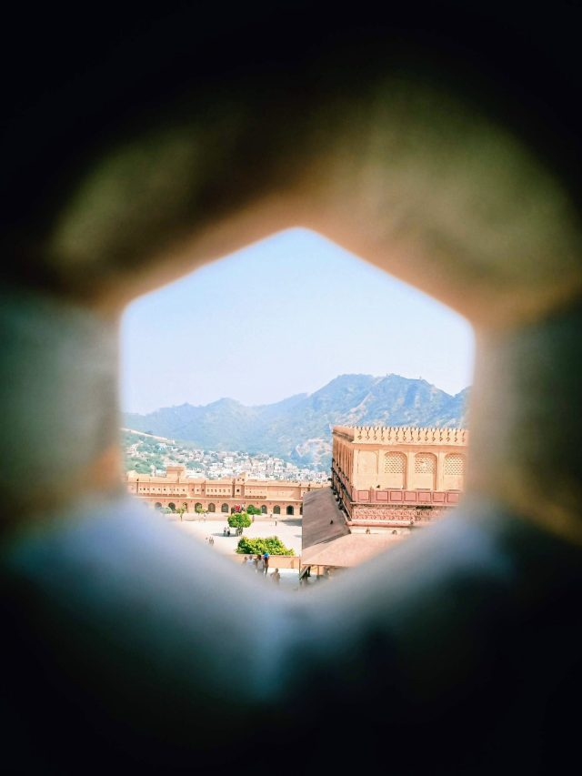 a Fort view through window in Rajasthan