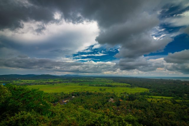 Clouds over a plain land