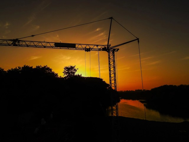 Construction site during sunset