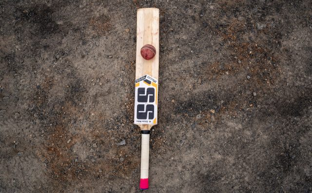 Cricket bat and ball on the ground