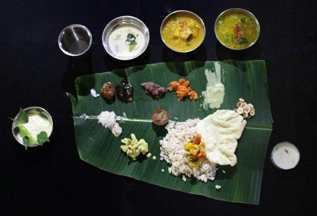 South Indian food on Banana Leaf