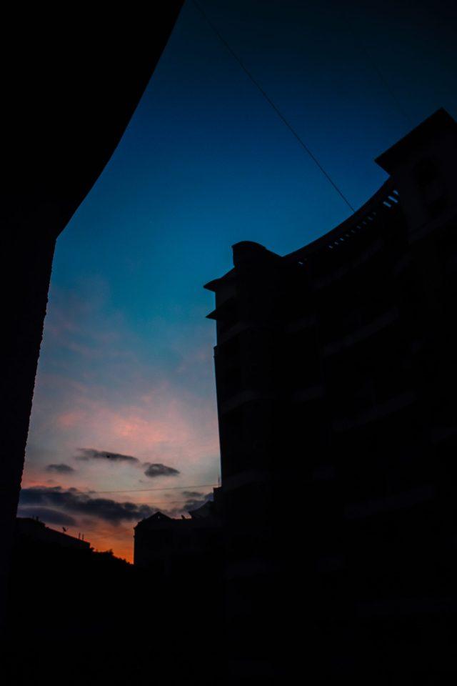 Sunrise through a town