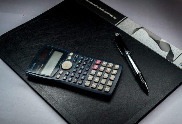 A scientific calculator on a file