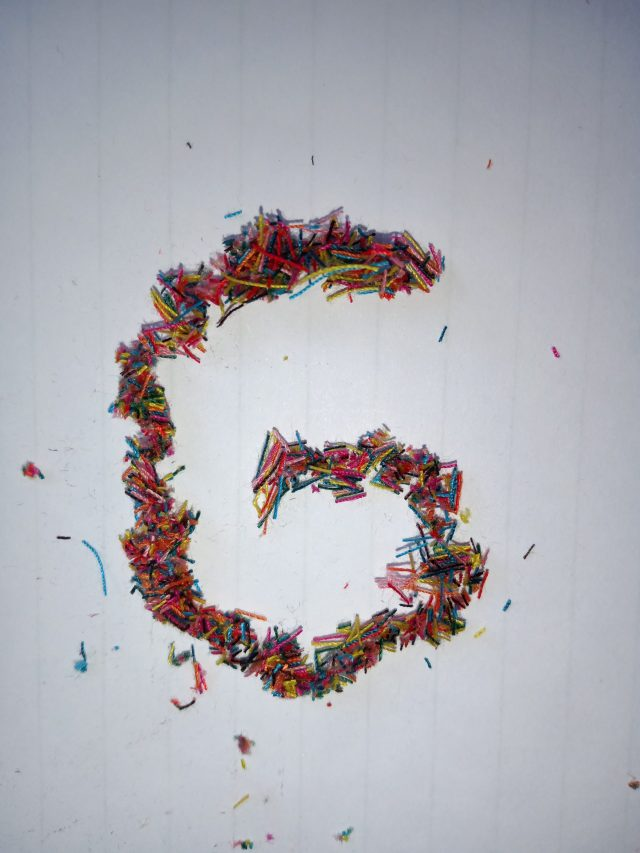 Google logo made with waste