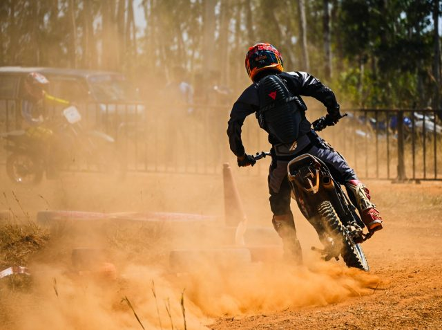 A biker participating in dirt racing
