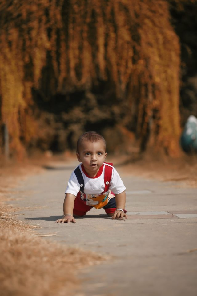 A baby crawling on knees