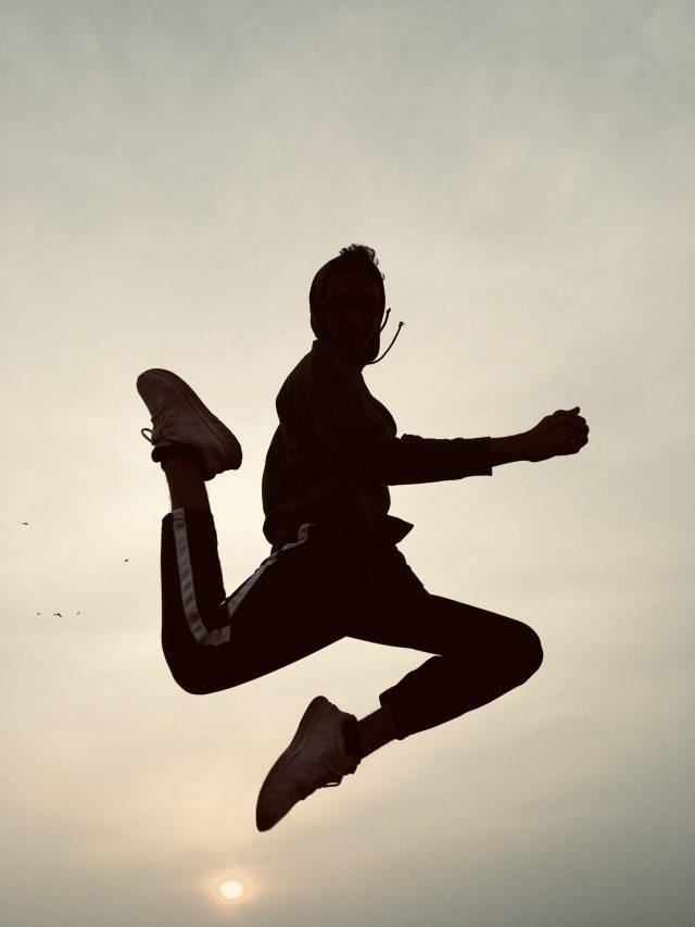 A jumping pose