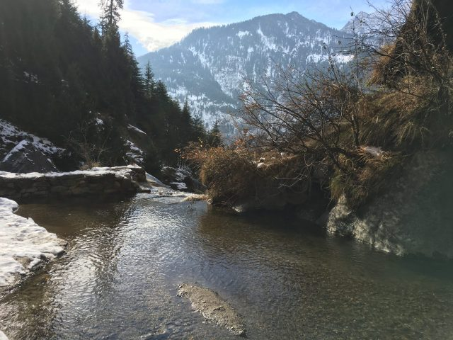 A river flowing through mountains