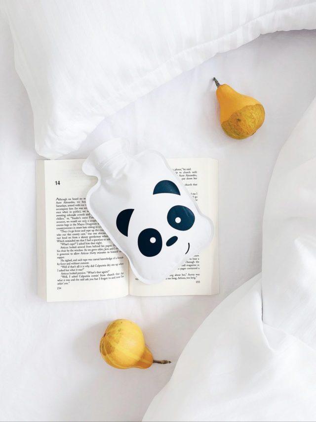 Book, hot water bag and fruits
