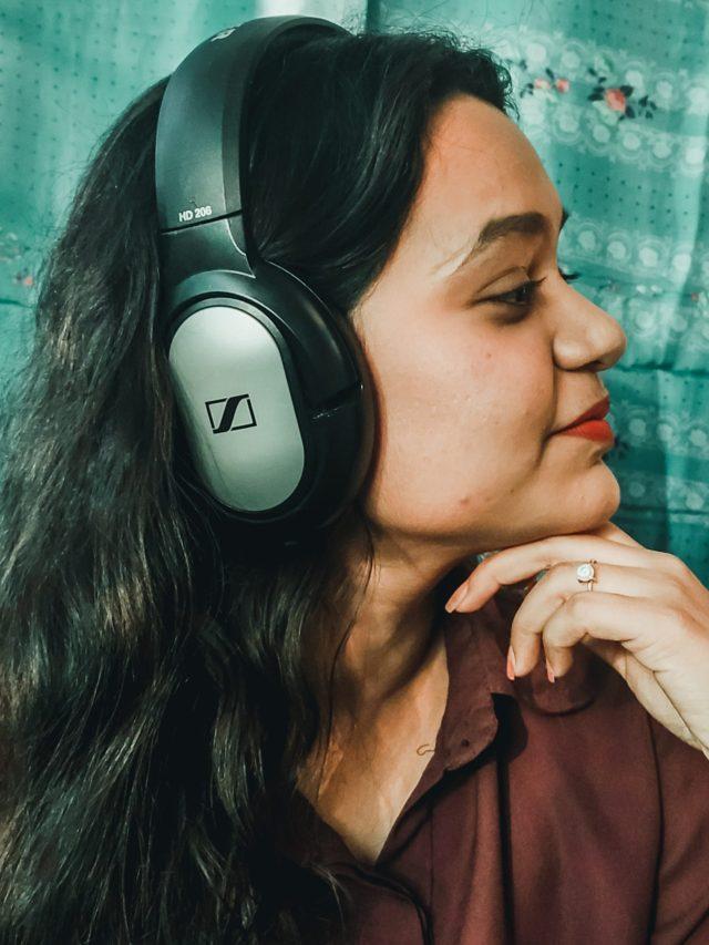 A girl with headphone