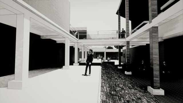 A boy in a building