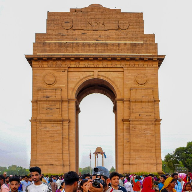 People at India Gate in Delhi