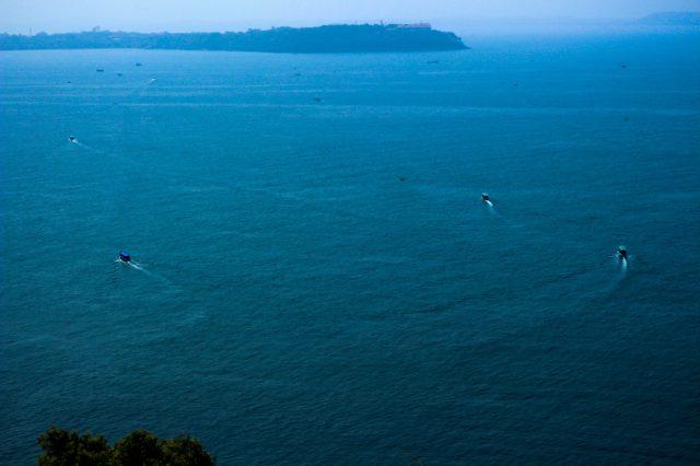 Speed boats in sea water