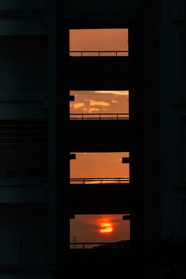 Sunset through the building