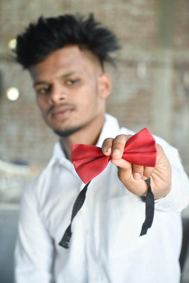 Dog bow tie collar in hand