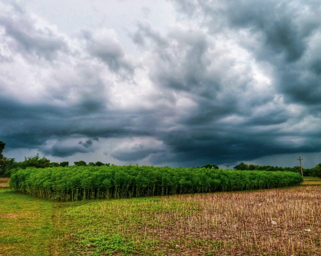 Clouds over agriculture land