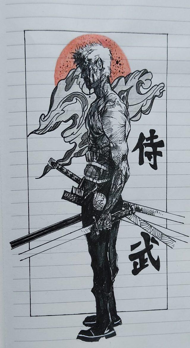 Drawing of a swordsman