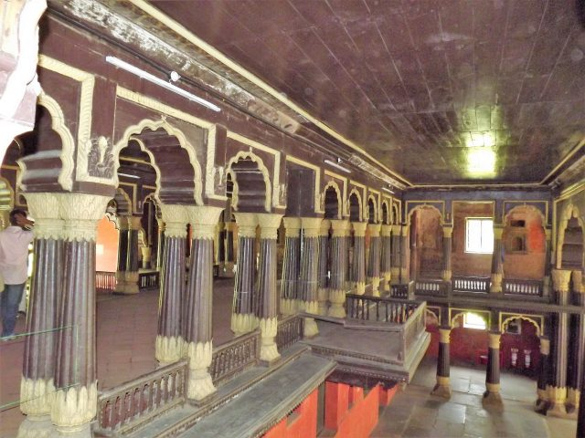Interior of Tipu Sultan palace in Bangalore