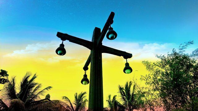 Digital landscape of a lamp post