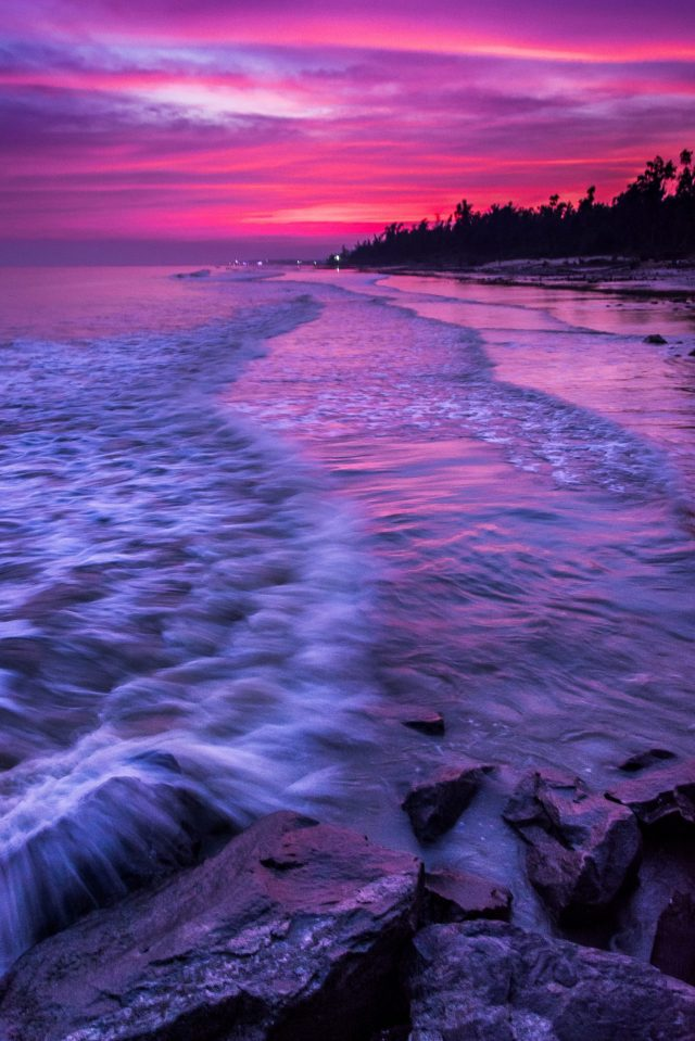 Water waves reaching the shore
