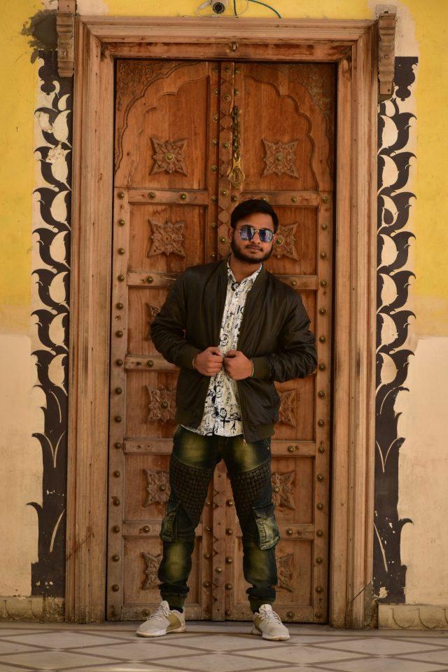 A boy at a door