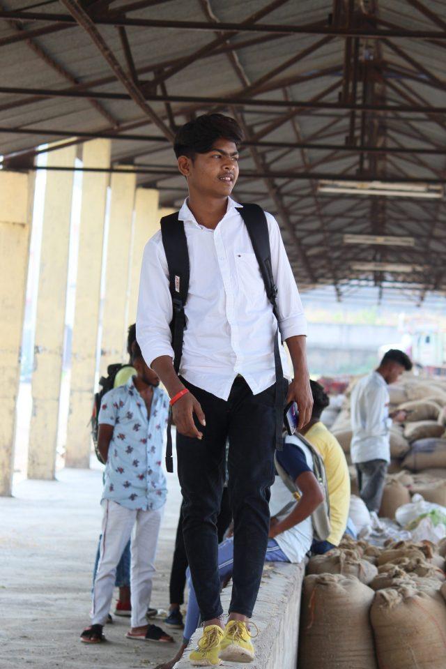 A boy in a market