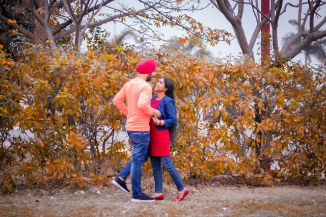 Couple posing in the forest
