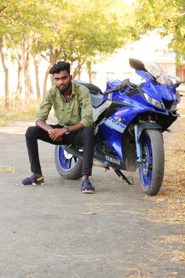 Boy posing on R15 bike