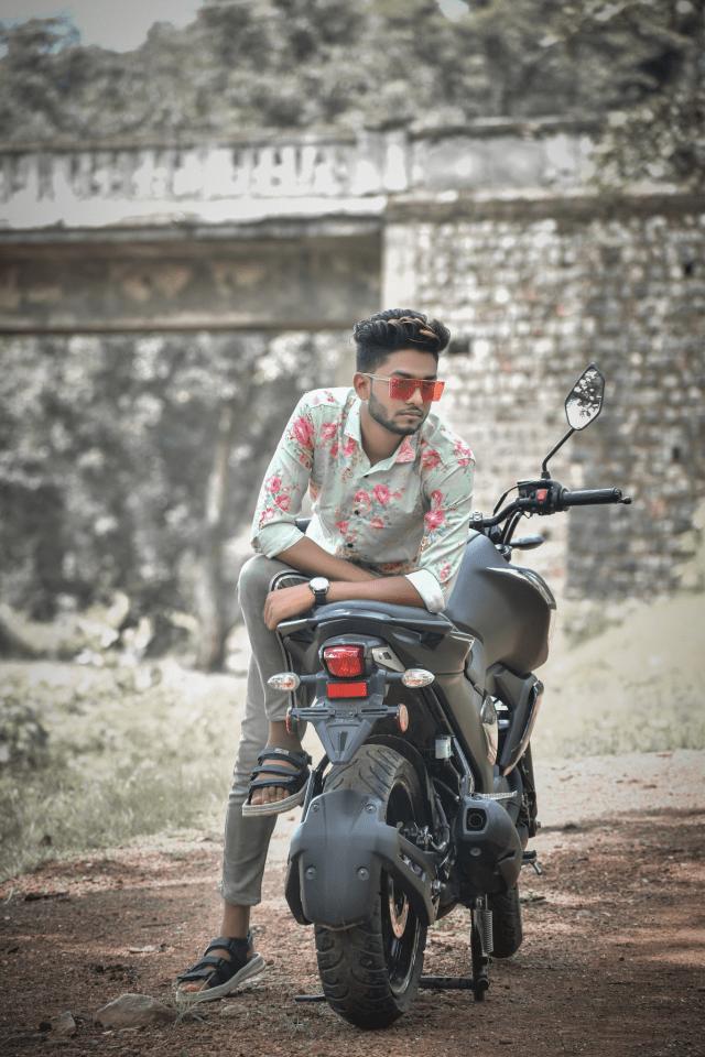 Model posing on bike
