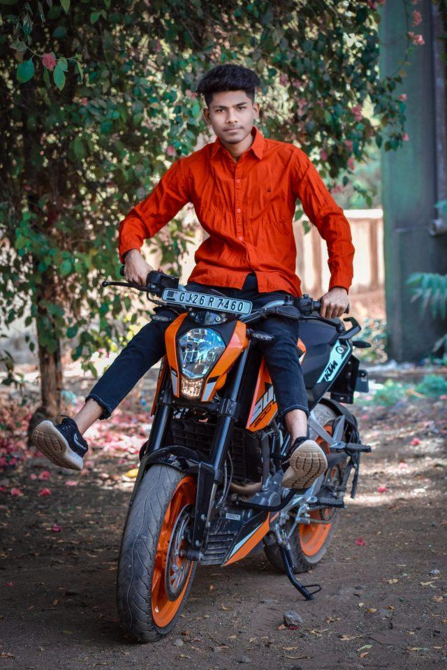 Boy posing on KTM bike