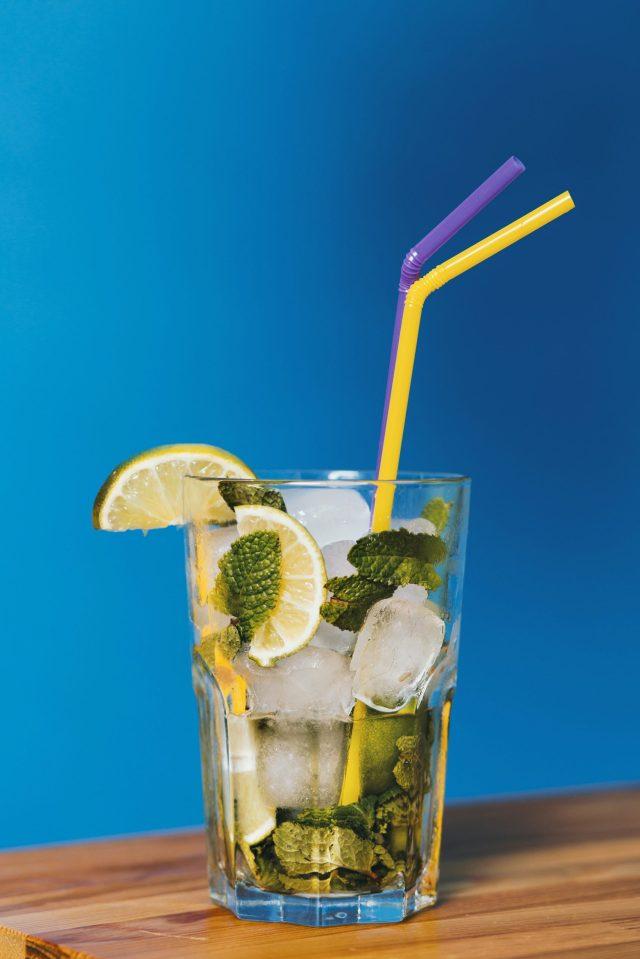 A lemon juice glass