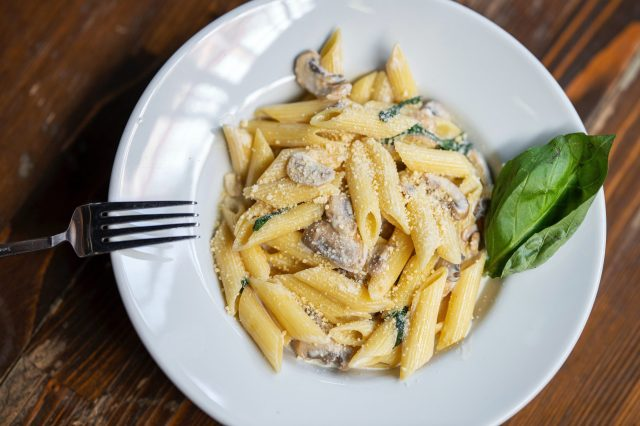 White sauce pasta in a plate