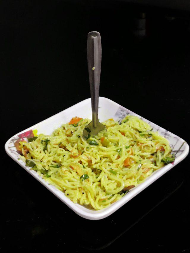Vegetable noodles on a bowl