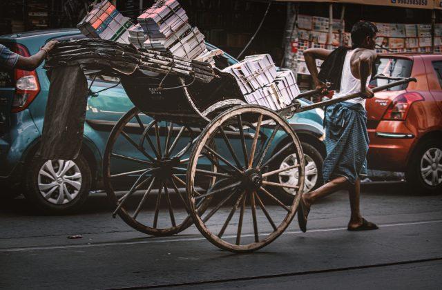A Pulled rickshaw