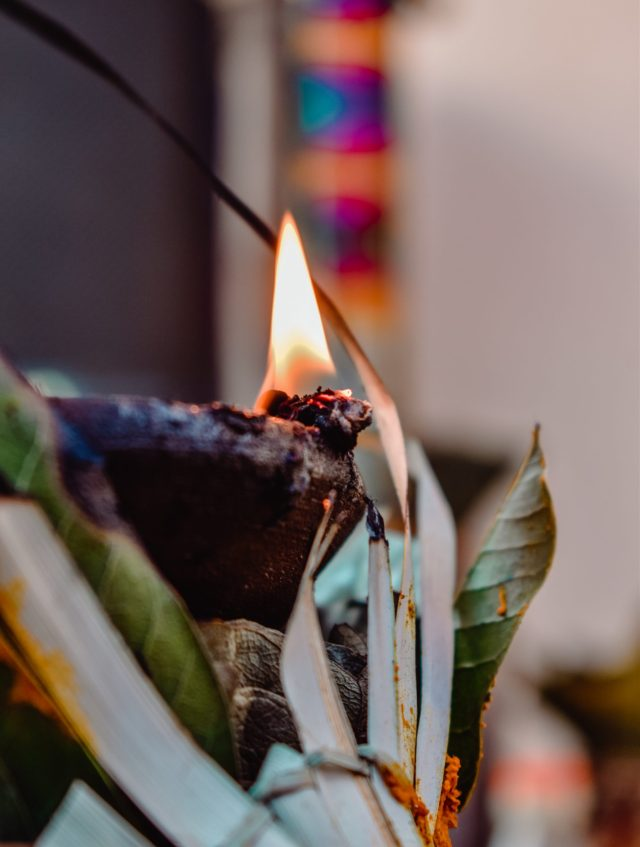 A sacred oil lamp